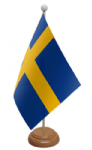Sweden Desk / Table Flag with wooden stand and base